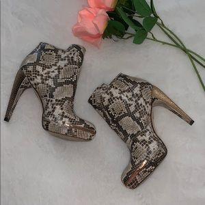 Herve Leger snakeskin rose gold ankle booties